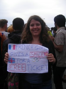 French girl gives a smile for a free ticket