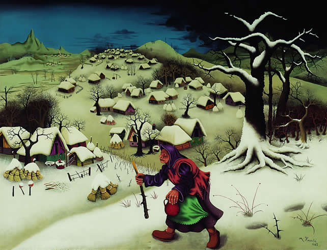 Mijo Kovačić: Winterlandscape with Woman, 1965