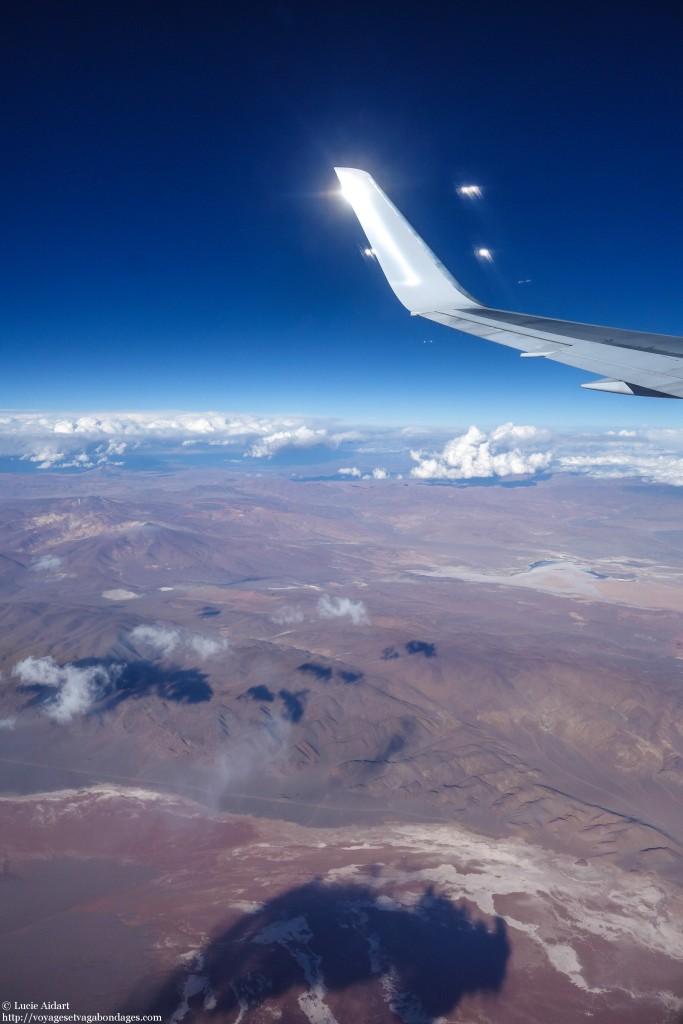 Survol du désert d'Atacama lors d'un voyage entre Bogota et Ushuaia pour faire un voyage en Antarctique