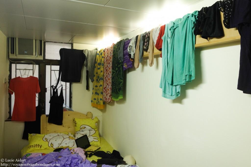Une chambre Airbnb pour 2 personnes à Hong-Kong et toute notre lessive