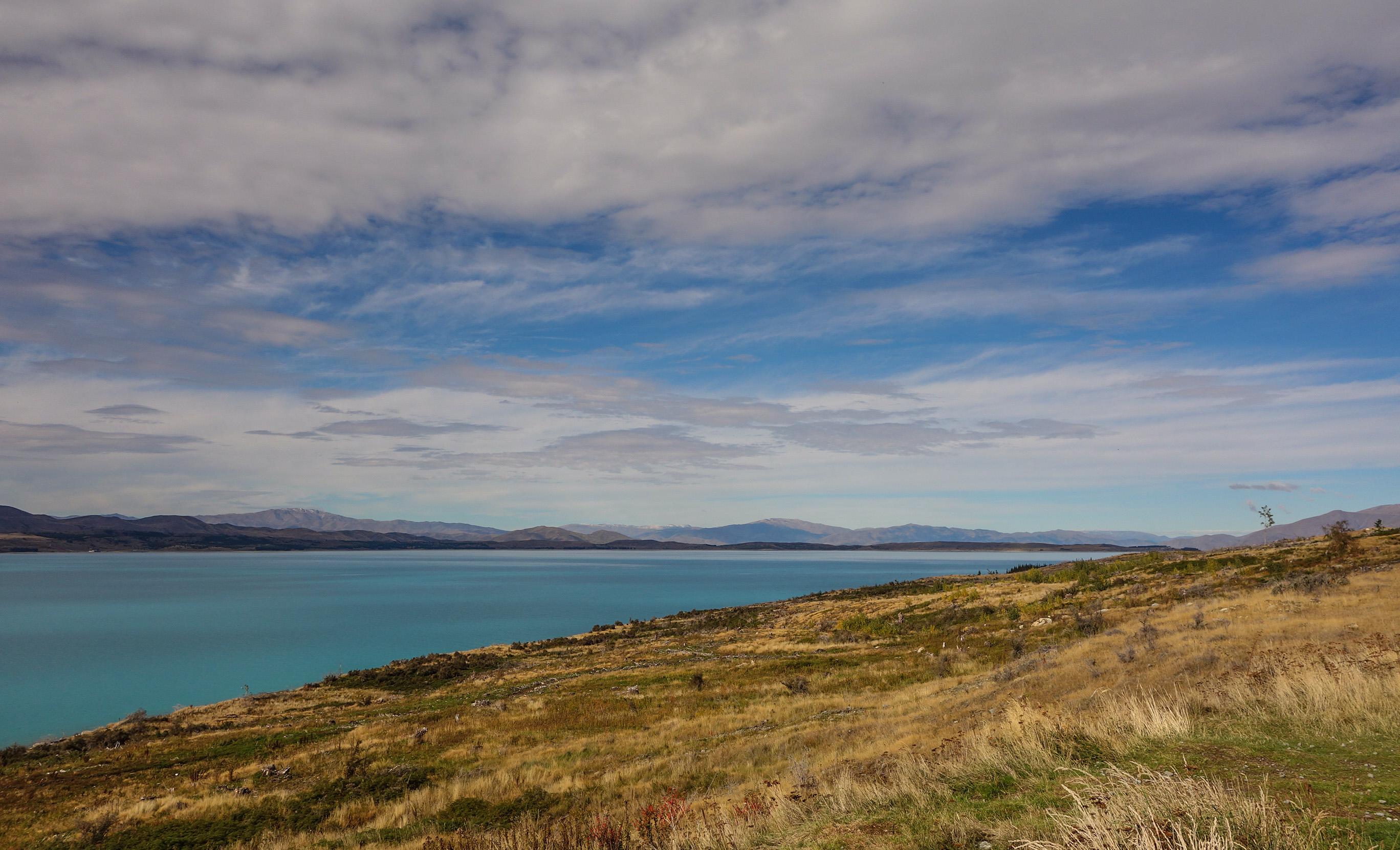 La route de Quenstown à Mont Cook, en Nouvelle-Zélande