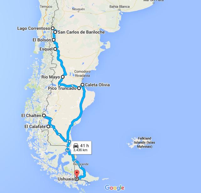 Itinéraire Auto-stop en Argentine
