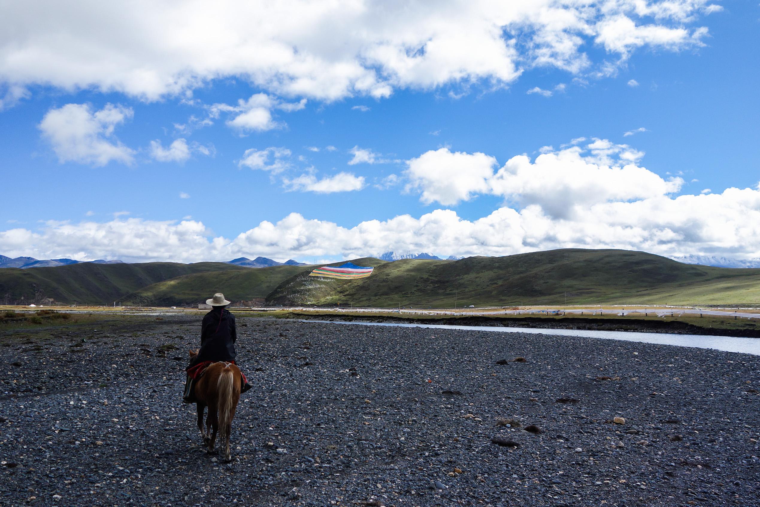 Début du trek à cheval au Tibet