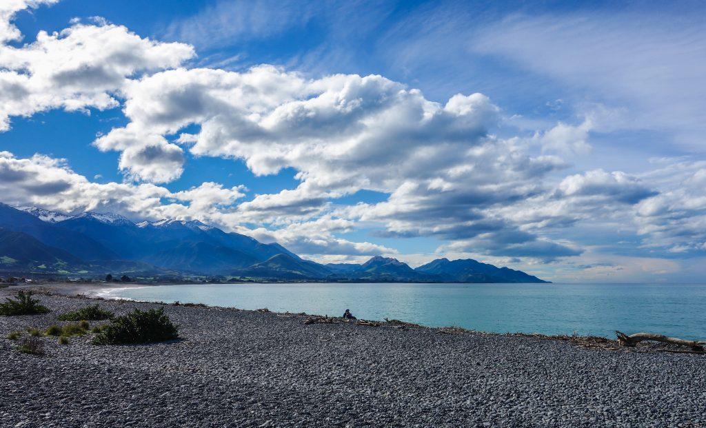 Sur la plage de Kaikoura