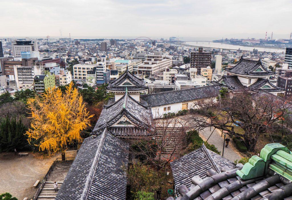 Vue sur la ville depuis le château de Wakayama