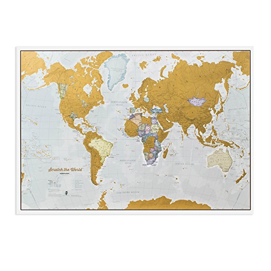 Scratch le monde, une carte du monde à gratter, un super cadeau pour les voyageurs de retour!