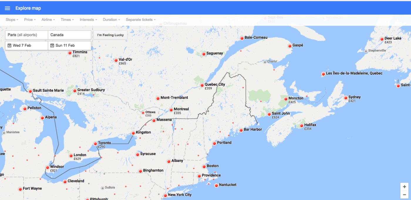 Comment trouver un billet d'avion pas cher? Recherche par carte sur Google Flights