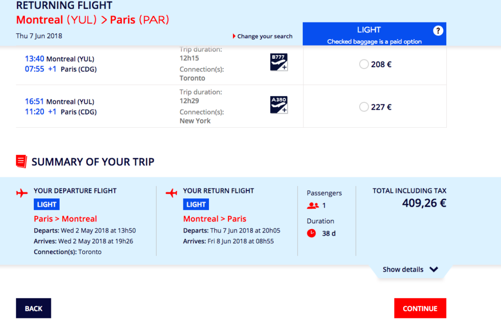 ticket pour avion
