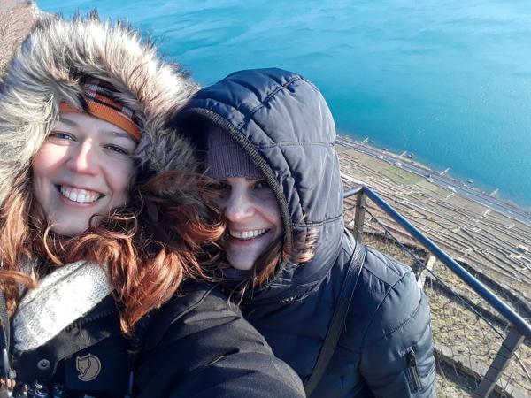Avec mon amie Sophie dans les vignes du Lavaux dans le canton de Vaud en Suisse - Voyages et Vagabondages au fil des mois - Bilan voyage mensuel - Février 2018 en Suisse
