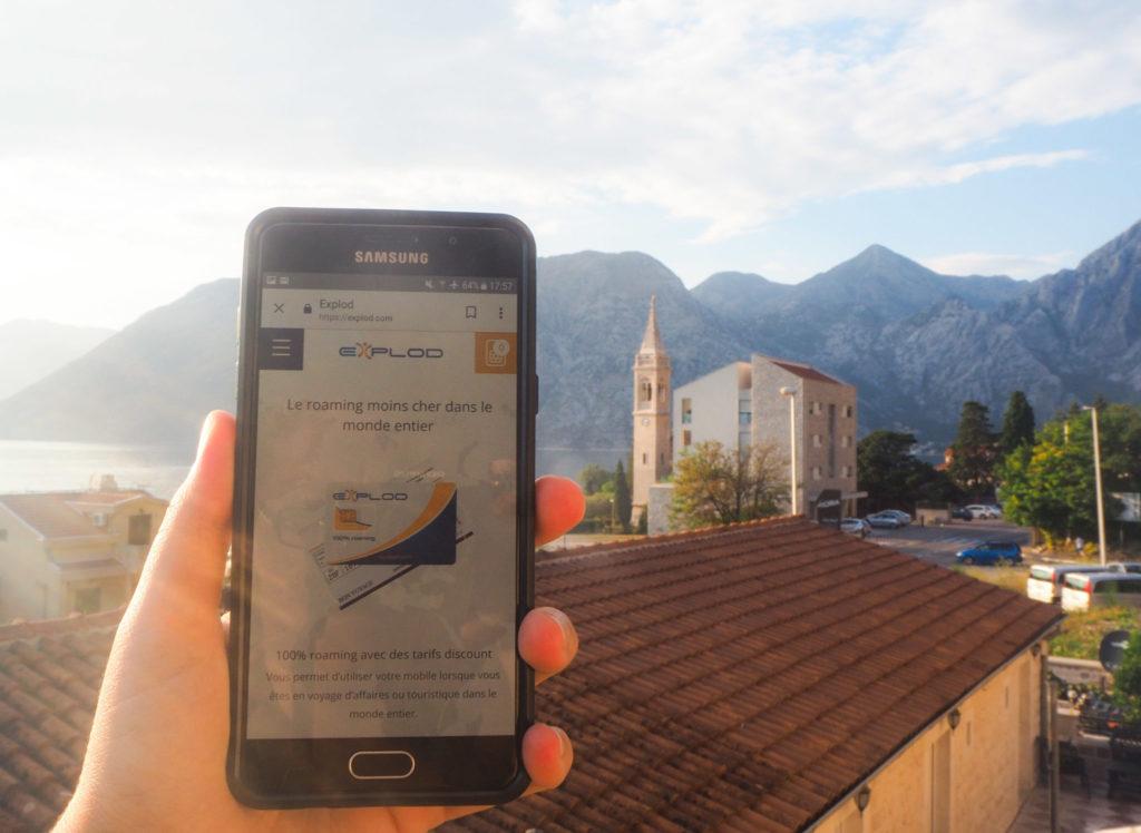 Test de la carte sim internationale au Monténégro, dans la Baie de Kotor