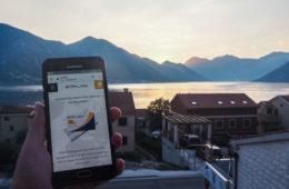 Test de la carte sim internationale en voyage au Monténégro, dans la Baie de Kotor
